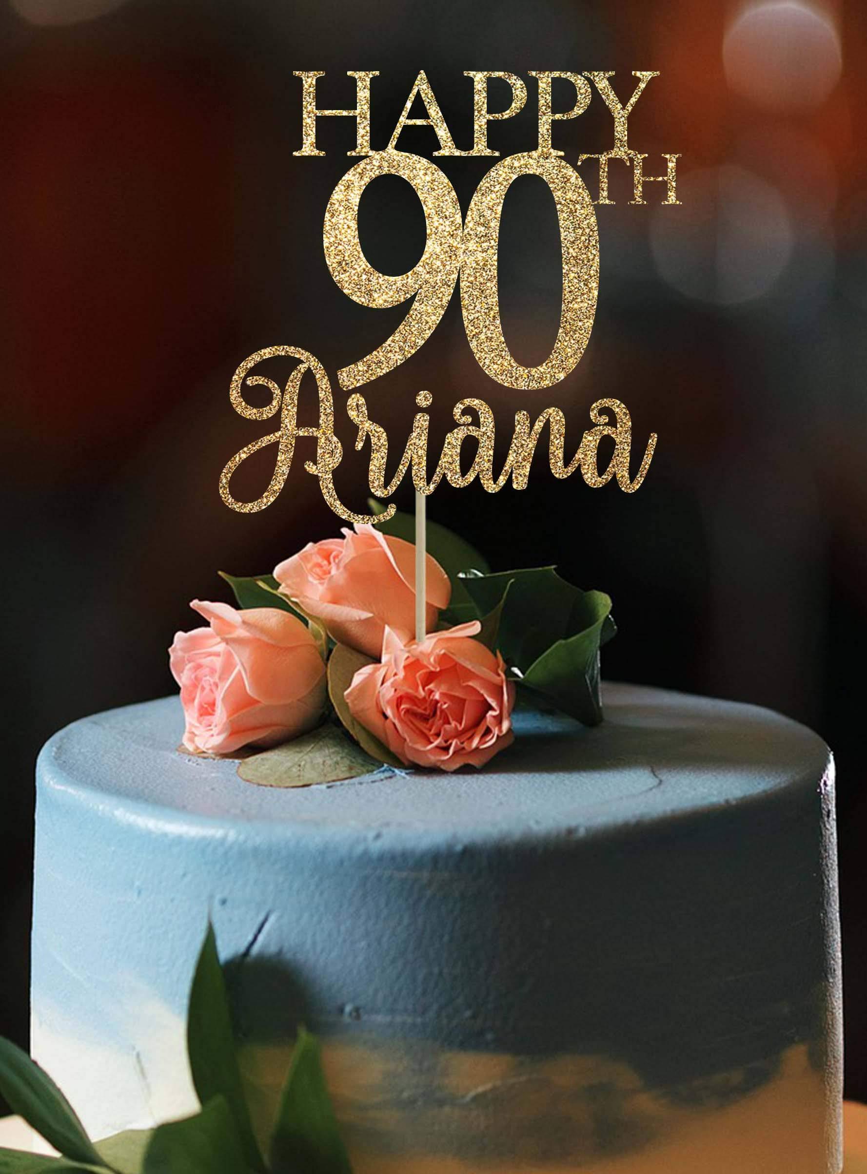 KISKISTONITE 100th birthday Cake Topper Happy Birthday Rhinestone Cake Topper, Golden,For Birthday Party Decoration. (Happy Birthday)