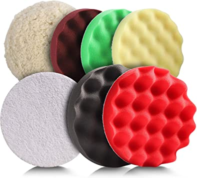 Ceramics Polishing Metal Buffing Pad for Car SPP1A Polyester Compound Sponge Pads kit Sanding and Waxing TACKLIFE 3Pcs 7//180mm Polishing Pads