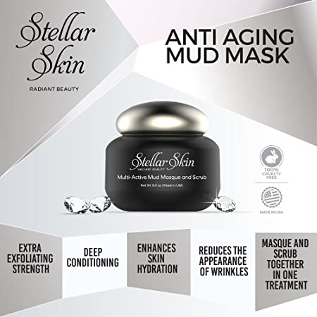 Mud Mask and Facial Scrub – Two-in-One, Best Facial Beauty Treatment, Anti Aging Microdermabrasion Masque, Remove Wrinkles, Acne Blemishes, Exfoliate, Moisturize
