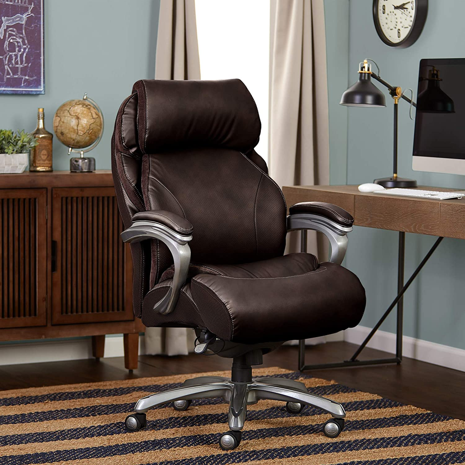 Amazon Com Serta Big And Tall Executive Office Chair With Air Technology And Smart Layers Premium Elite Foam Supports Up To 400 Pounds Bonded Leather Brown Furniture Decor
