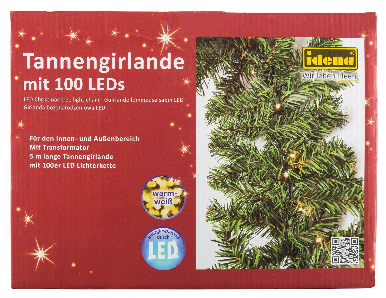 Idena Tannengirlande mit 100 LED, warm weiß für Innen und Außen, 5 ...
