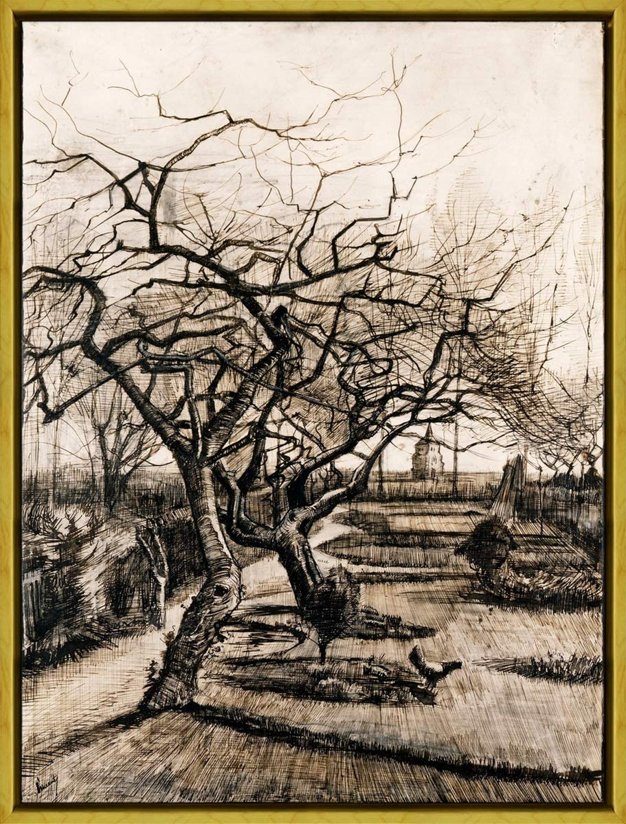 Berkin Arts Framed Vincent Van Gogh Giclee Canvas Print Paintings Poster Reproduction(The Parsonage Garden at Nuenen in Winter)#XLK