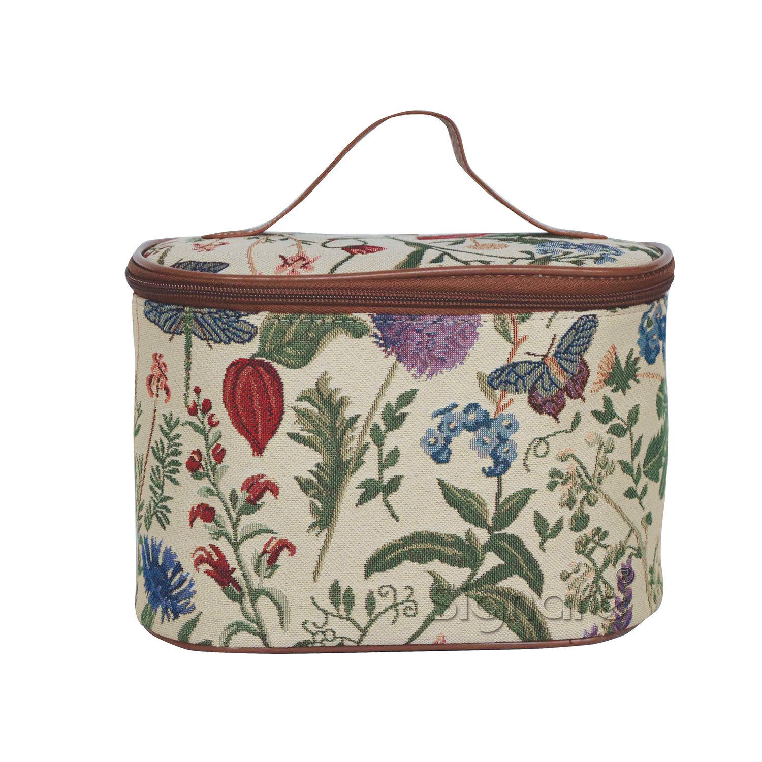 Ladies Garden Flower Round Large Cosmetic Bag Travel Makeup Organiser Case with Handle Holder with Sunflower Poppy Butterfly Dragonfly by Signare (TOIL-MGD)