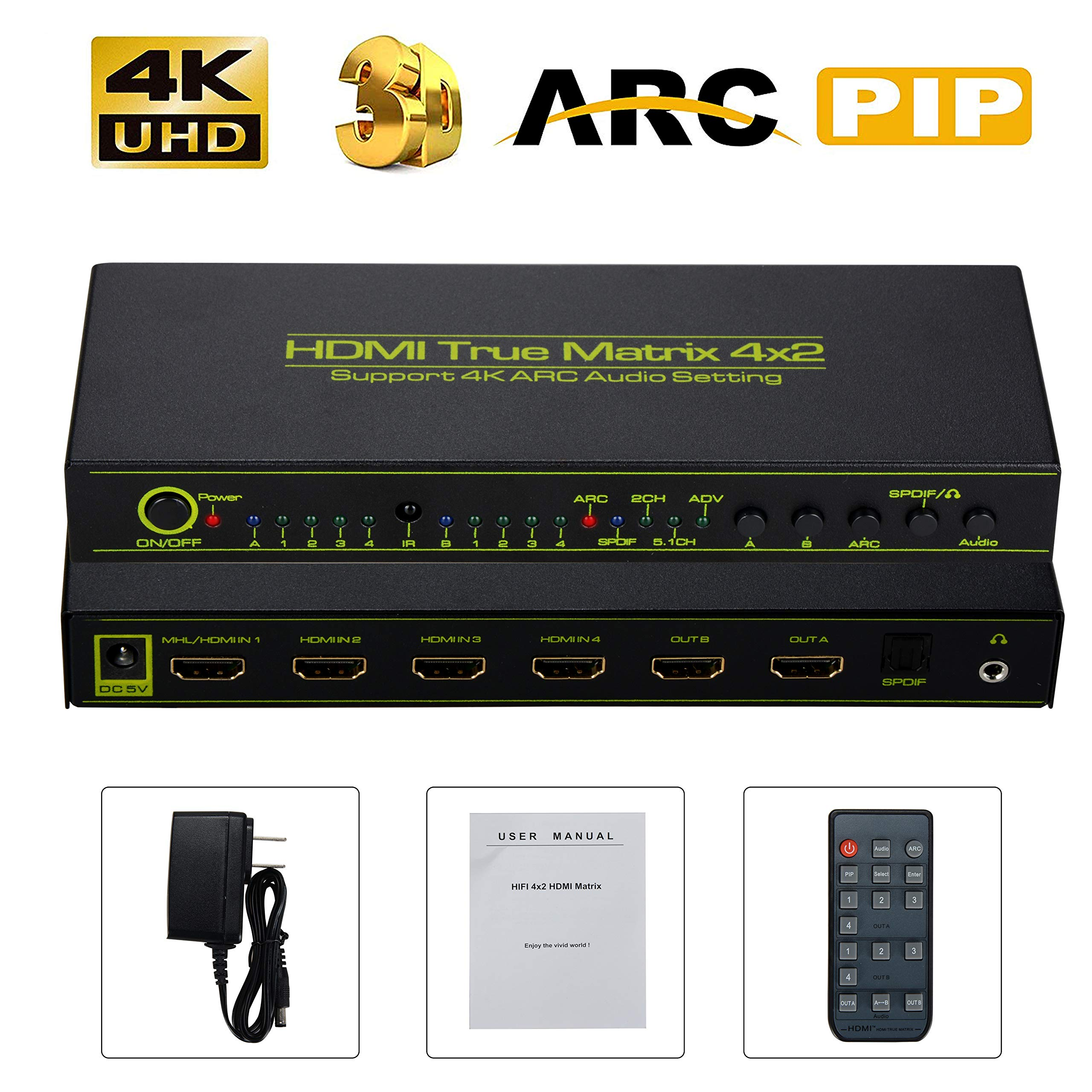 4K HDMI Splitter Switch 4x2 ARC HDMI Splitter Support ARC/PIP/Audio Extractor/EDID, NEWPOWER 4 Input 2 Output HDMI Splitter True Matrix HDMI Splitter Switch