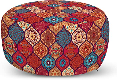Ambesonne Moroccan Ottoman Pouf, Oriental Wavy Curvy Pattern with Spring Nature Inspired Retro Style Art Motifs, Decorative Soft Foot Rest with Removable Cover Living Room and Bedroom, Ruby Orange