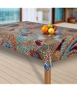laro Wachstuch-Tischdecke Abwaschbar Garten-Tischdecke Wachstischdecke PVC Plastik-Tischdecken Eckig Meterware Wasserabweisend Abwischbar G03, Muster:Mosaik bunt, Größe:40x40 cm Muster