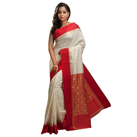 cb98b0a27e Avik Creations Women's Off-White, Red Border Tassar Art Silk Kanjivaram  Handloom Saree With Blouse Piece New Collection: Amazon.in: Clothing &  Accessories
