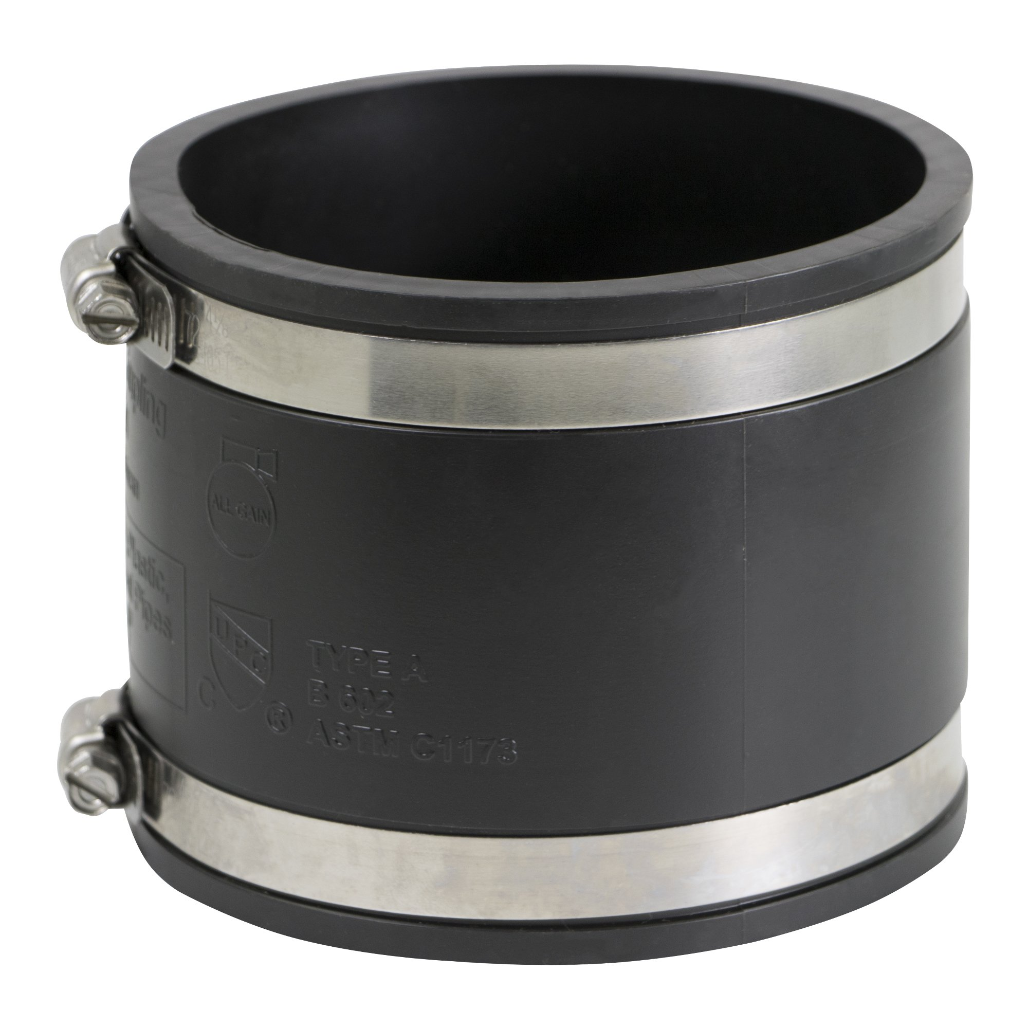EVERCONNECT 4839x10 Flexible PVC Coupling with Stainless Steel clamps 8'', Black (pack of 10)