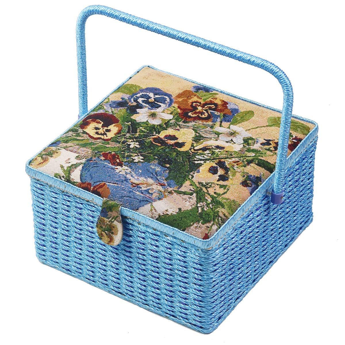 D& D Extra Large Square Sewing Basket with Sewing Kit