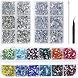 6000Pcs Hotfix Rhinestone Flat Back Gemstone Crystal Set with Clear and Clear AB 6 Sizes Crystal and 12 Mixed Color SS12 Rhinestones for DIY Manicure, Face Art Clothes Bags