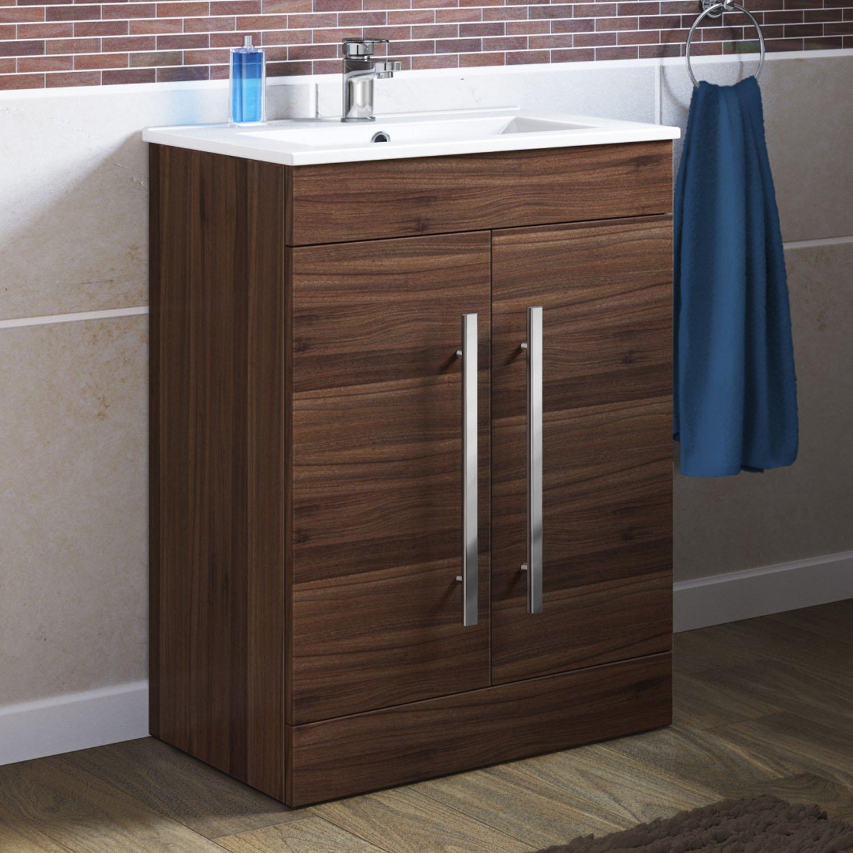 600 mm Walnut Vanity Sink Unit Ceramic Basin Bathroom Storage Furniture  MV801. Roper Rhodes Esprit Dark Walnut Vanity Bathroom Unit Without Sink