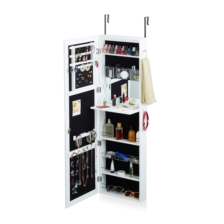 Relaxdays Schmuckschrank mit Spiegel abschließbar, Spiegelschrank groß hängend für für für Tür, HxBxT  120 x 38,5 x 10 cm, weiß 69d15a
