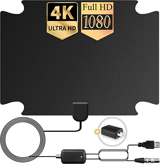 HDTV Antenna Support 4K 1080P 130 Miles Range Digital Antenna for HDTV 18 Ft Premium Coaxial Cable 2020 Latest TV Antenna VHF UHF Freeview Channels Antenna with Amplifier Signal Booster