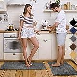 Pretigo Kitchen Rug Sets - Rugs for Kitchen Floor Washable,Non-Slip Soft Kitchen Mat Set,Chenille Microfiber Material, Super