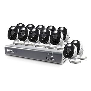 Swann 16 Channel 12 Camera Security System, Wired Surveillance 1080p HD DVR 1TB HDD, Audio Capture, Alexa + Google, SWDVK-1645812WL