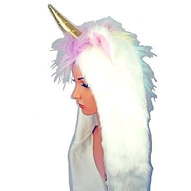 Unicorn Faux Fur Soft Hooded Hat Scarf Pockets Plush Furry Beanie 3 in 1  Combo 42c2dd2b251