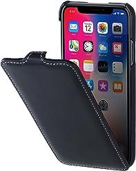 StilGut Housse pour iPhone XS & iPhone X en Cuir élégant à Ouverture Verticale et Fermeture clipsée, Noir Nappa