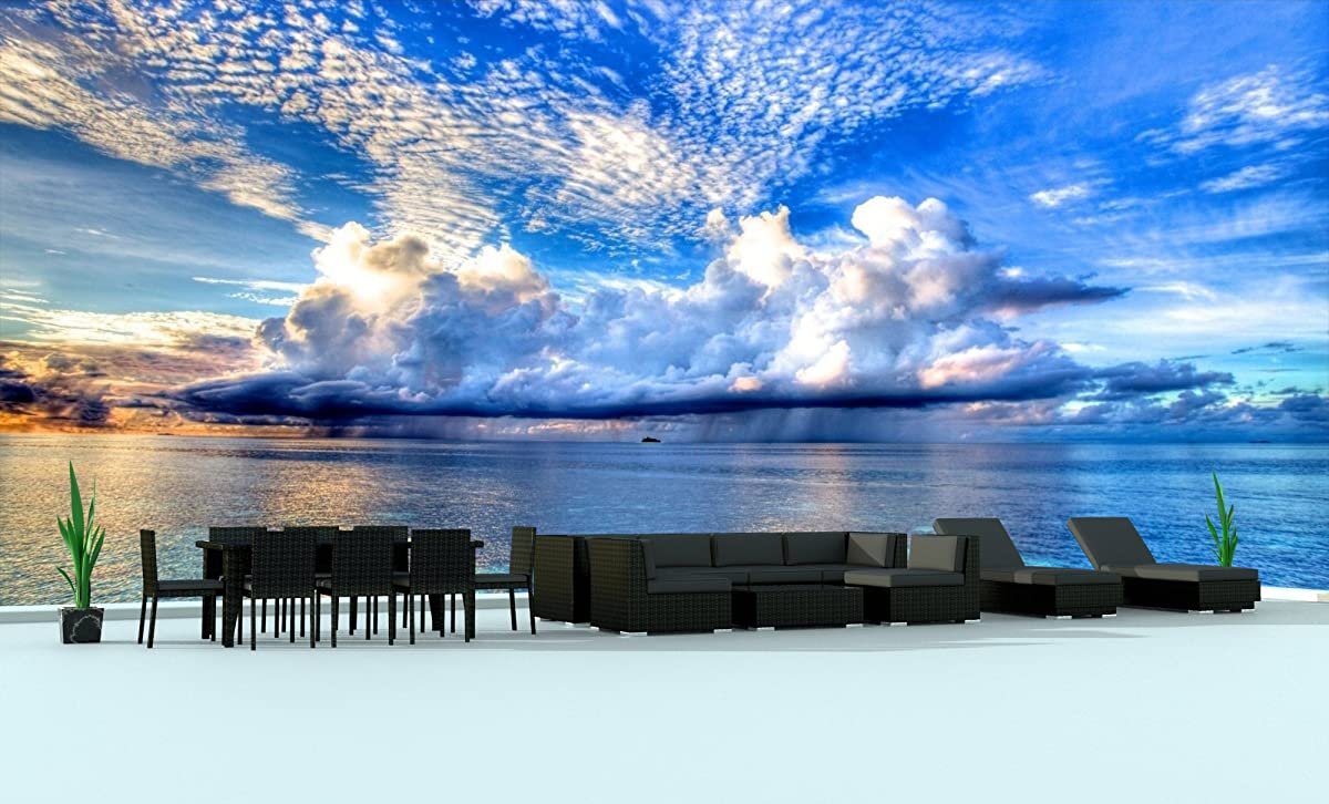 Urban Furnishing.net - BLACK SERIES 19 Piece Outdoor Dining and Sofa Sectional Patio Furniture Set