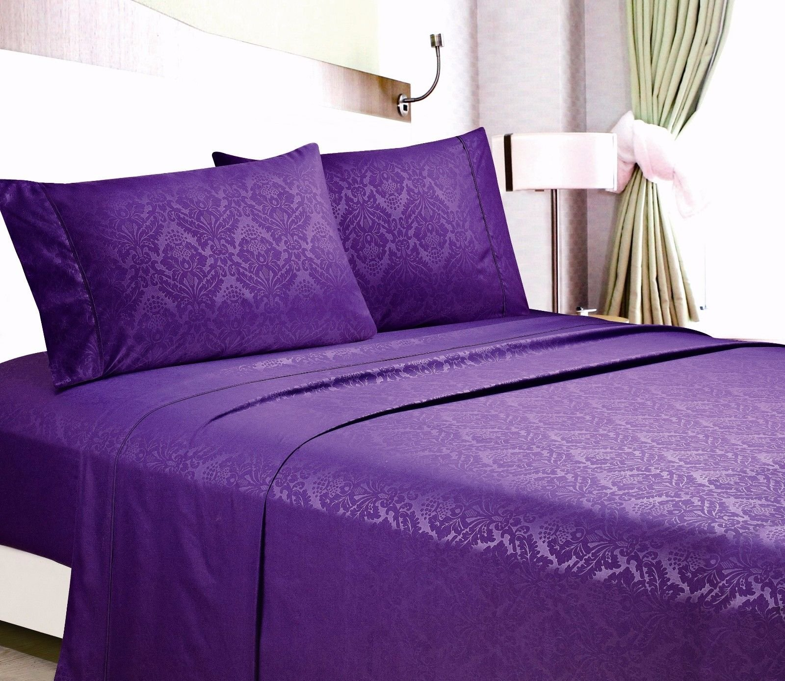Egyptian Comfort Hotel Quality Embossed Floral Sheet Set King/Purple