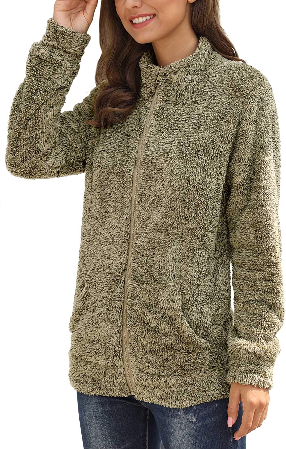 For G and PL Womens Long Sleeve Full Zip Fleece Jacket