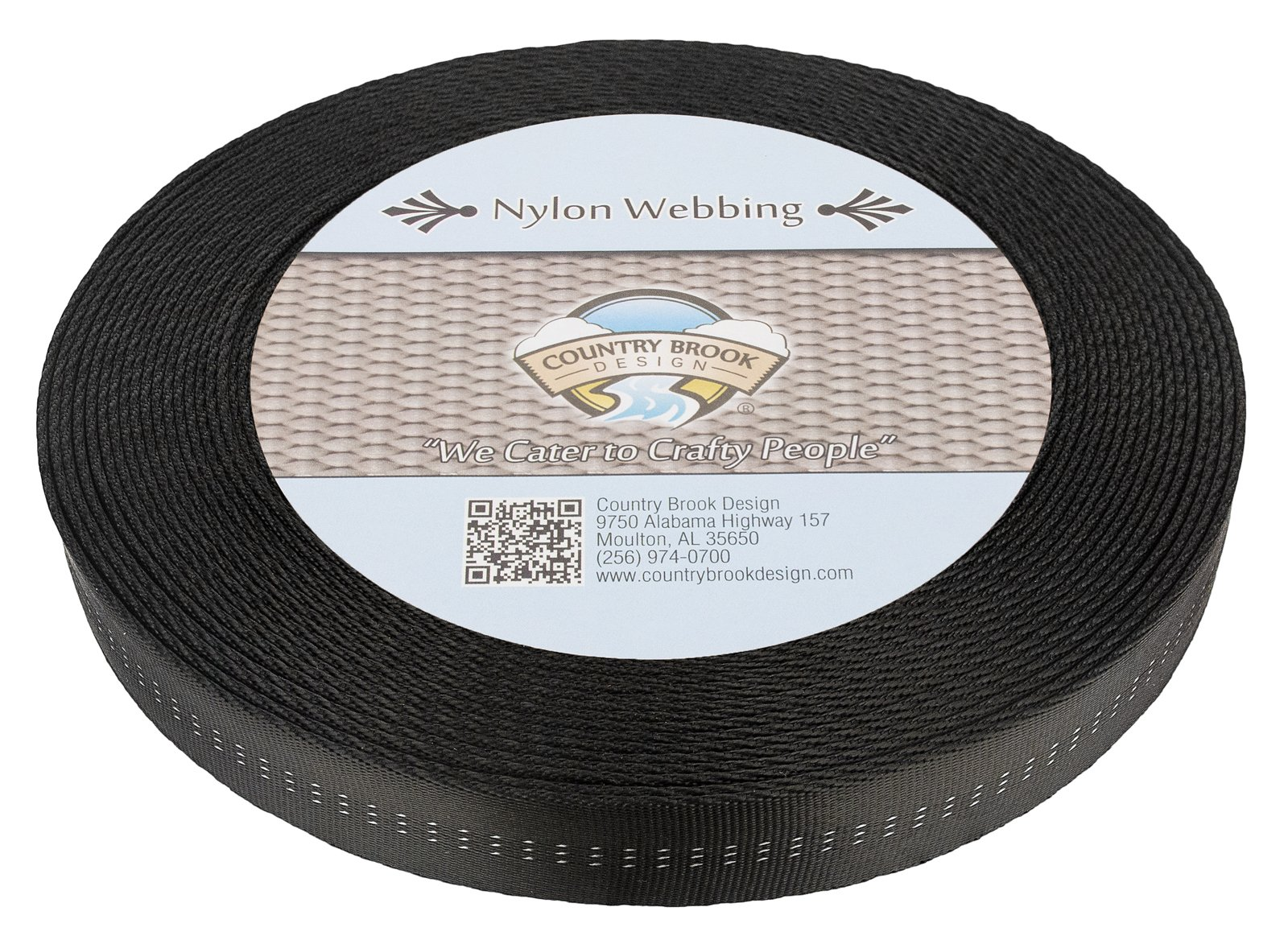Country Brook Design 1 Inch Black Climbing Spec Tubular Nylon Webbing, 50 Yards by Country Brook Design (Image #1)