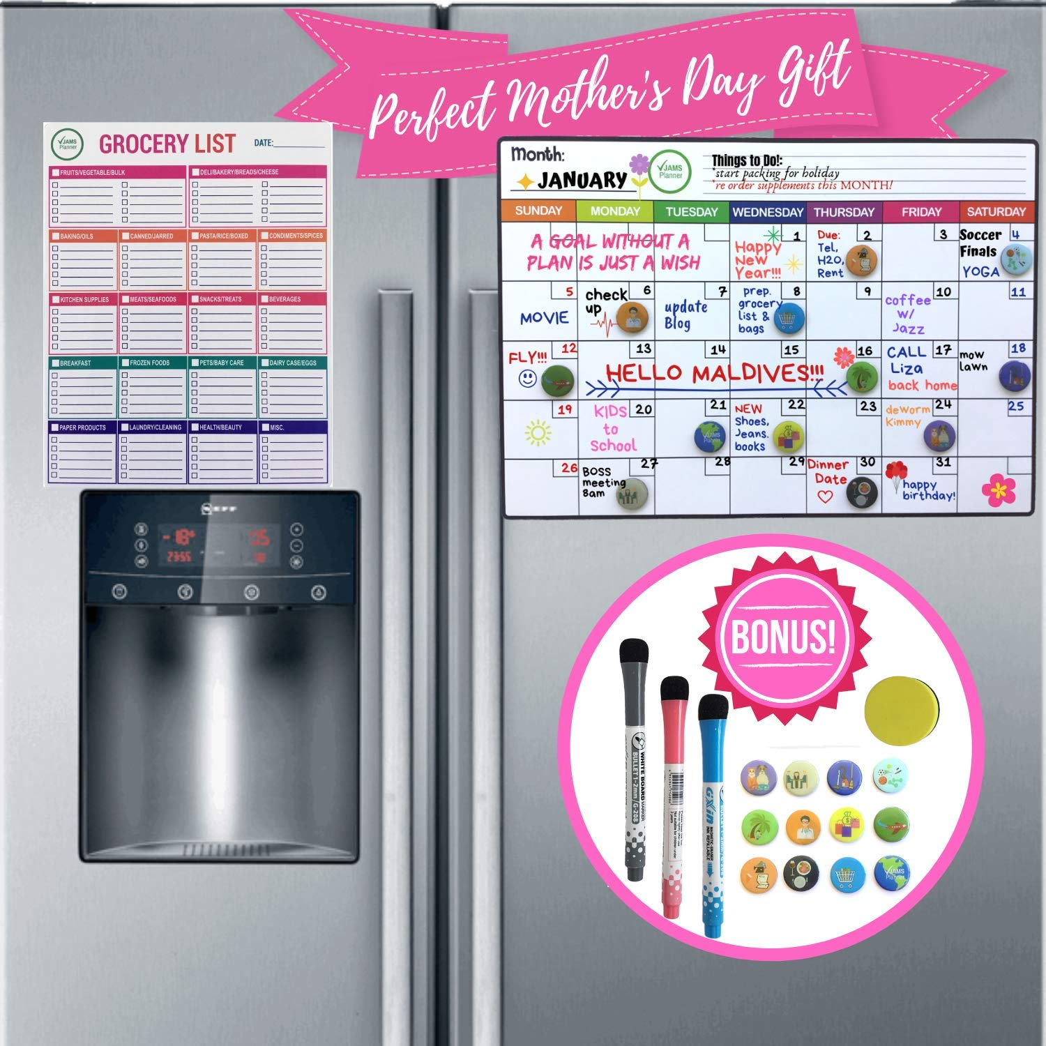 Magnetic Calendar for Refrigerator | Dry Erase Fridge Organizer Whiteboard with Kitchen Grocery List, 3 Fine Markers, 12 Icons & Eraser - 18 Pcs Set Recyclable | Smart Family Monthly & Weekly Planner