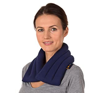 Sunny Bay Light Weight Heated Neck Wrap, Flax Seeds (Blue)