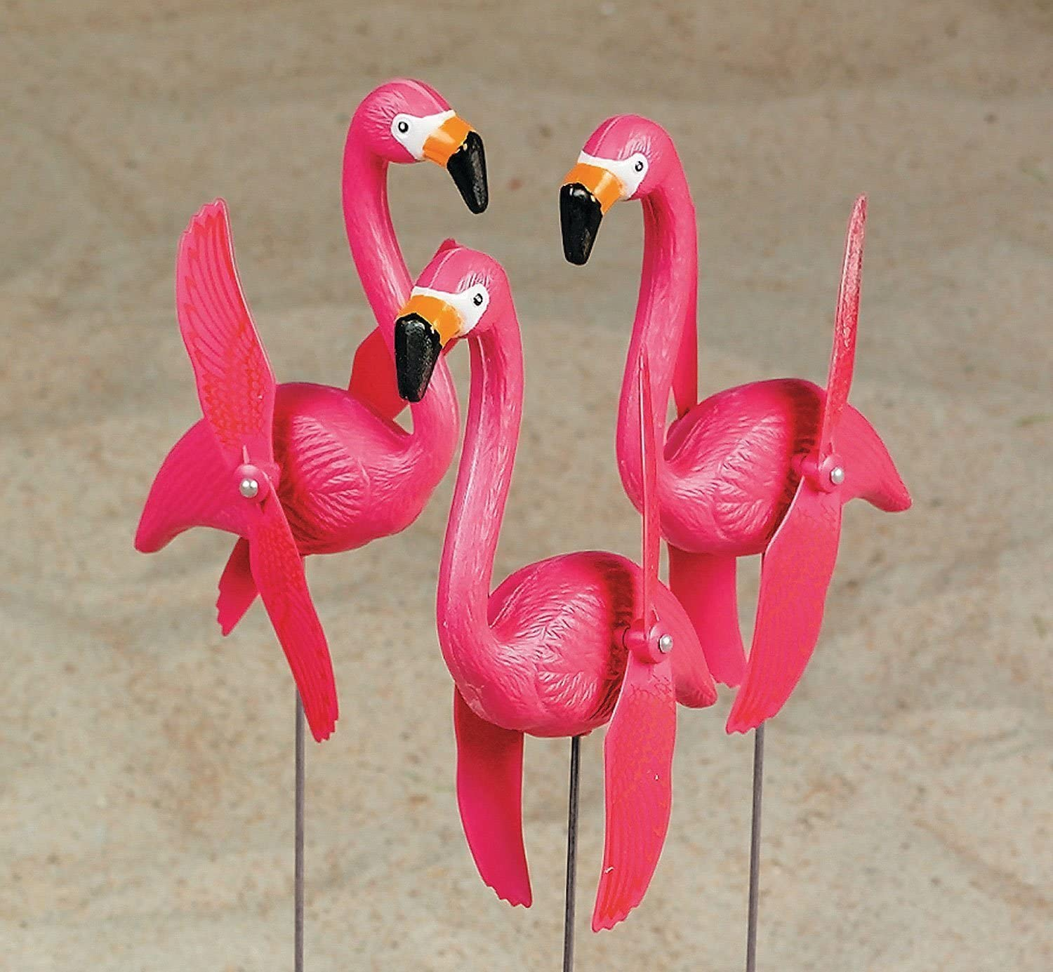 6 Mini Pink Flamingoes Whirly-gig twirling Wings Lawn Ornaments