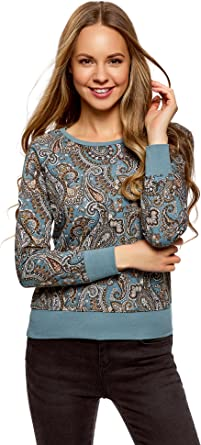 oodji Ultra Femme Sweat-Shirt Droit avec Imprim/é