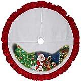 "42"" Felt Santa Claus Christmas Tree Holiday Skirt Red Trim"