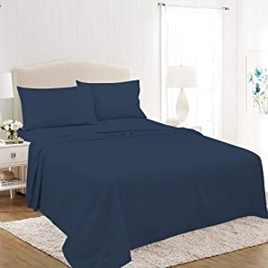 Royale Linens Soft Home Brushed Percale Ultra Soft 100% Cotton, Queen 4-Piece Sheet Set, Navy, Model Number: A92M46-092-0480