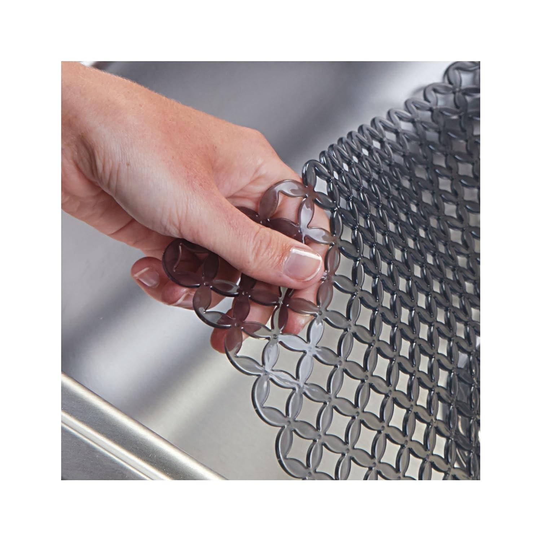 Protector de fregadero de cocina con dise/ño de rejilla Alfombrilla de PVC extragrande negro mDesign Tapete antideslizante para proteger el fregadero de ara/ñazos