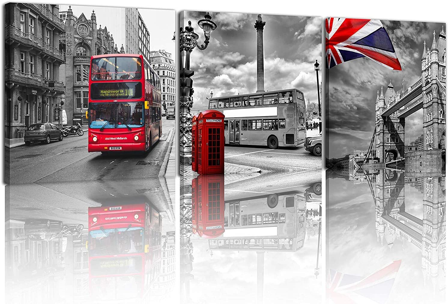 NAN Wind 3 Pcs Modern Giclee Canvas Prints Red Bus on London Street Black and White London Wall Art Union Jack Wall Decor Paintings on Canvas Stretched and Framed Ready to Hang for Home Decor