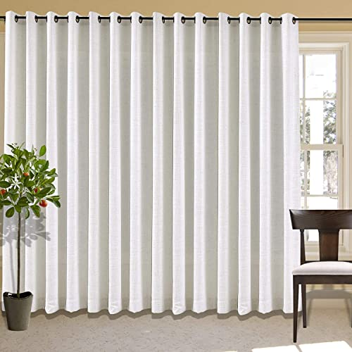 cololeaf Extra Wide Curtain Panels 150″ W x 96″ L Linen Drapes