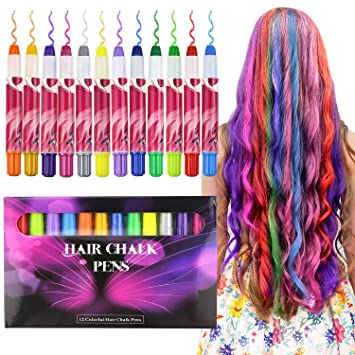 buluri haarkreide non toxic 12 farbe naturliche haare kreide stifte temporare haarfarbe fur madchen