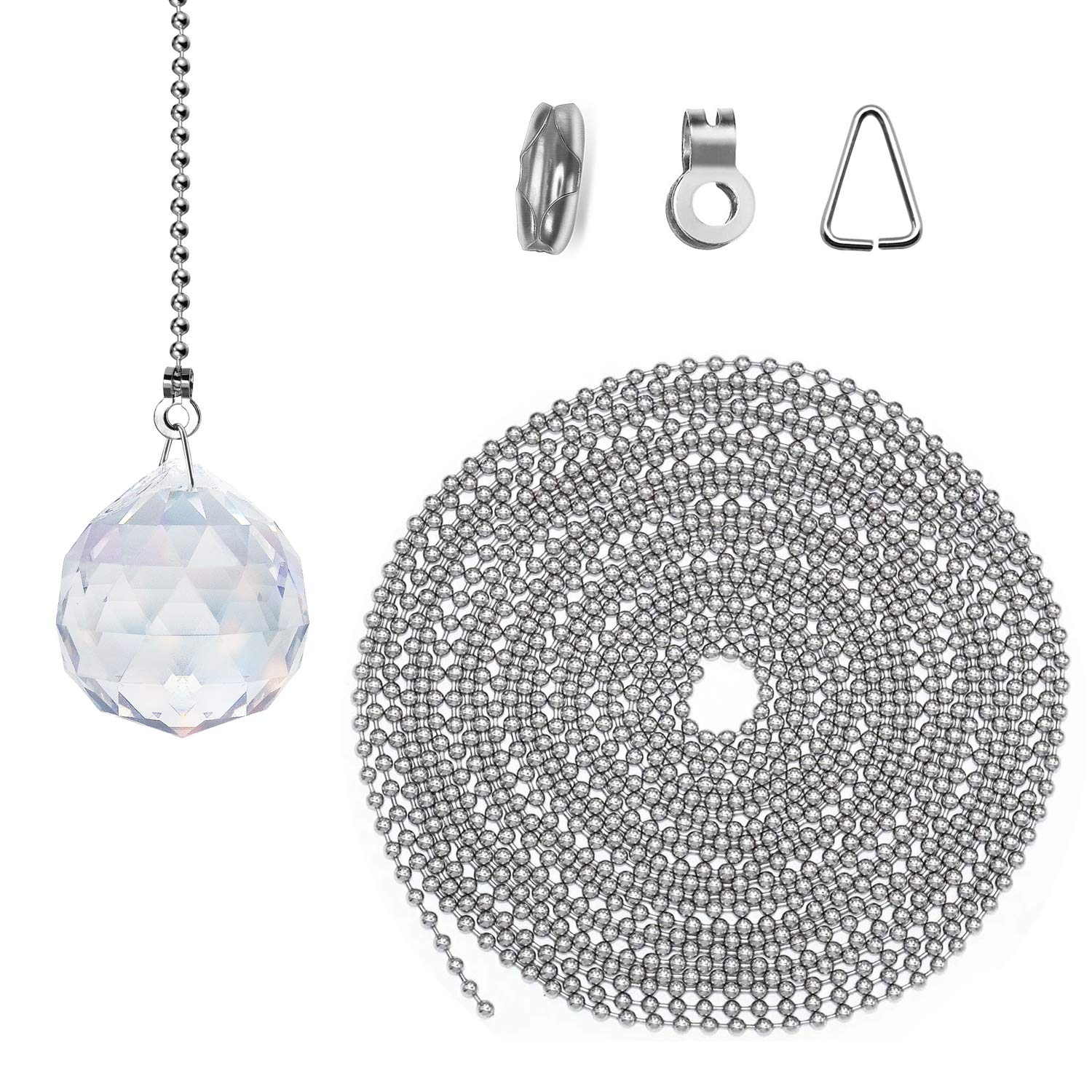 3.2mm, Silver Fan Ceiling Extenders with 40 Connectors and 2 Sets Clear Crystal Decorative 32 Feet Beaded Pull Chain Extension