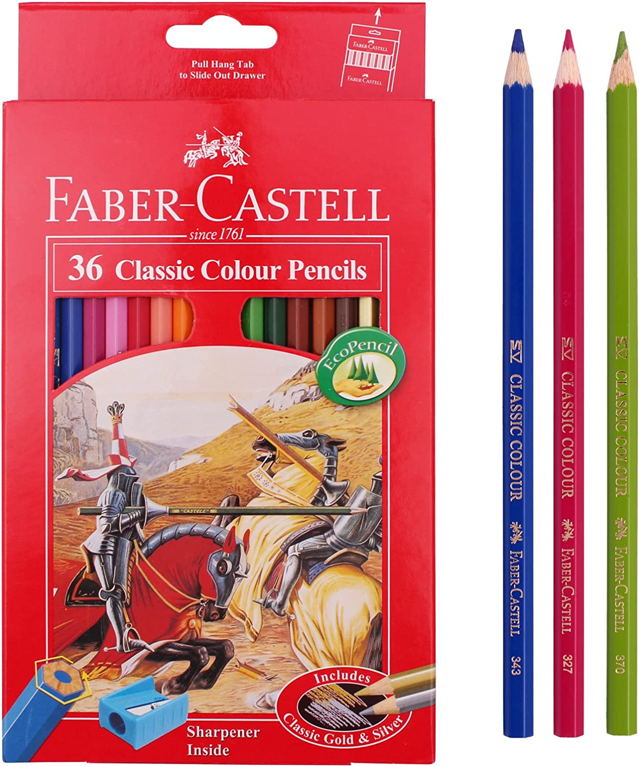 Faber Castell 12 Coloured Drawing Eco Pencils Stationary No Sharpener