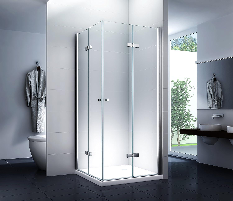 Duschkabine Eckeinstieg Duschabtrennung Dusche Stella 80x80x180cm 8mm mit Duschtasse