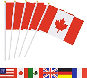 Canada Stick Flag,TSMD 50 Pack Hand Held Small Canadian National Flags On Stick,International World Country Stick Flags Banners,Party Decorations For Olympics,Sports Clubs,Festival Events Celebration