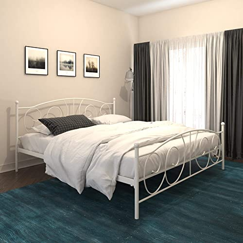 DHP Victoria Metal, King Size Frame, Storage, White Beds