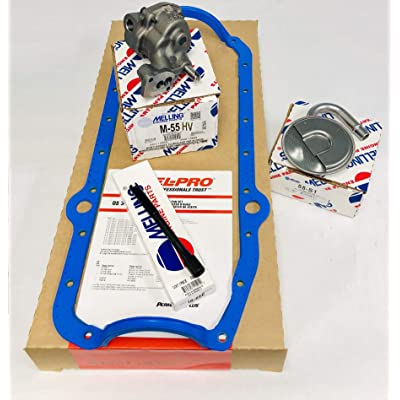 Melling M-55HV SBC Chevy HIGH Volume Oil Pump, Oil Pump Stud, Pick Up Screen, Steel Rod & Fel-Pro 1Pc Rubber Gasket compatible with 305 307 327 350 38: Automotive
