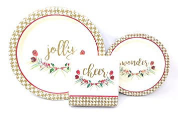 Simply Holiday Wishes Christmas Paper Plates and Napkins by BlueInk Studios  sc 1 st  Amazon.com & Amazon.com: Simply Holiday Wishes Christmas Paper Plates and Napkins ...