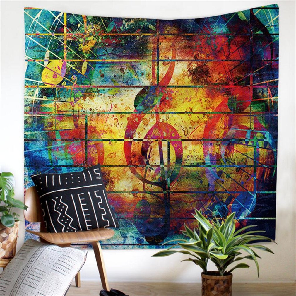 DIPPERION Music Decor Wall Tapestry Wall Hanging Music Note Tapestry Colorful Tapestry Psychedelic Bohemian Mandala Tapestry Indian Wall Art Wall Tapestry for Bedroom Living Room Dorm Decor