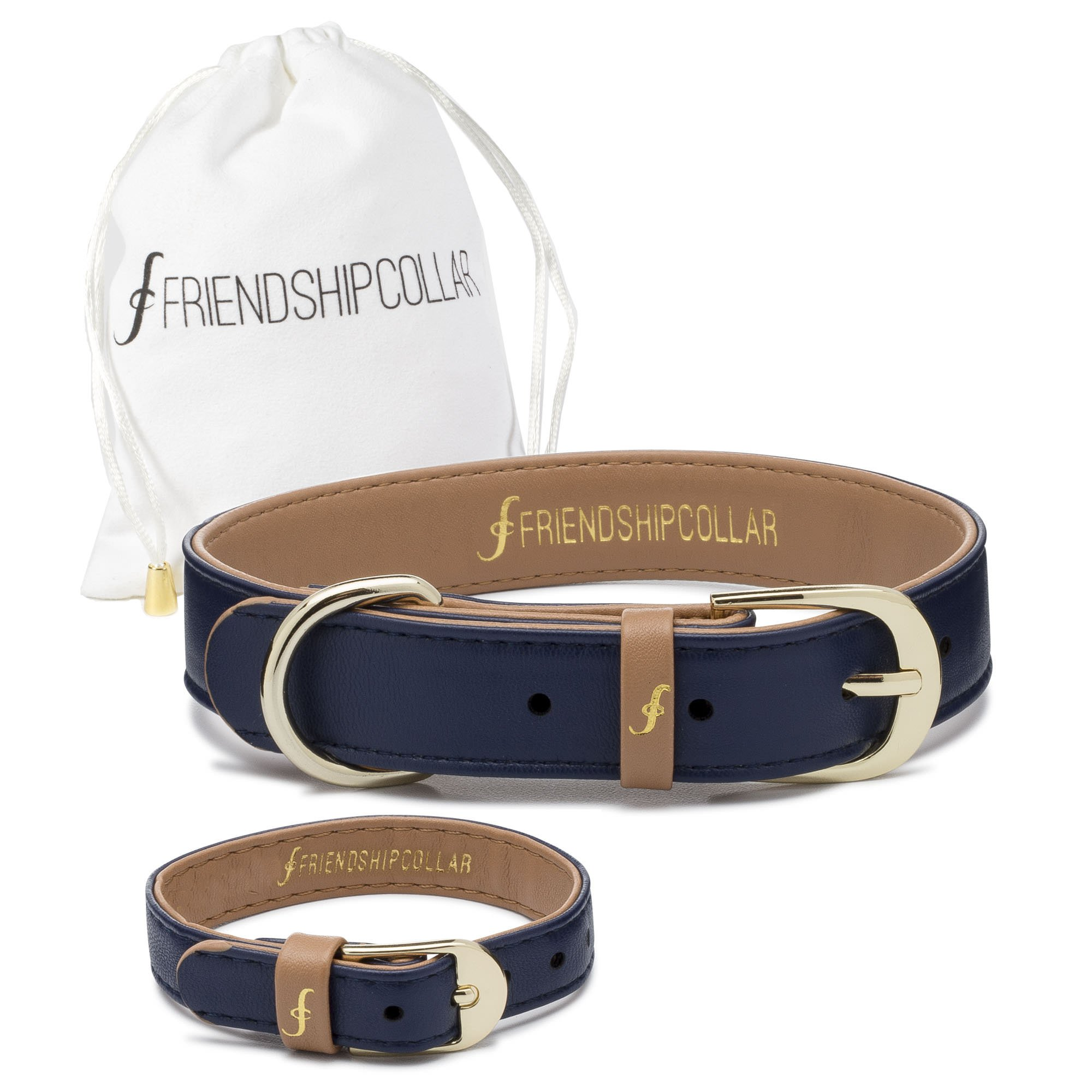 FriendshipCollar Dog Collar and Friendship Bracelet - Monaco Blue - Small