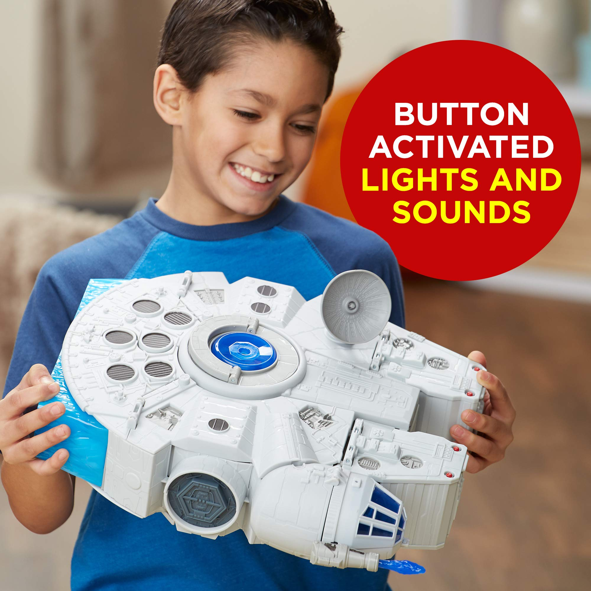 Star Wars Galactic Heroes 2-In-1 Millennium Falcon Vehicle Playset, Chewbacca, R2-D2 2.5-Inch Action Figures, Lights and Sounds, Toys for Kids Ages 3 and Up by Playskool (Image #5)