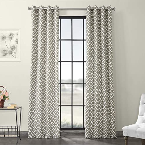 HPD Half Price Drapes PRCT-D07-120-GR Grommet Printed Cotton Curtain 1 Panel