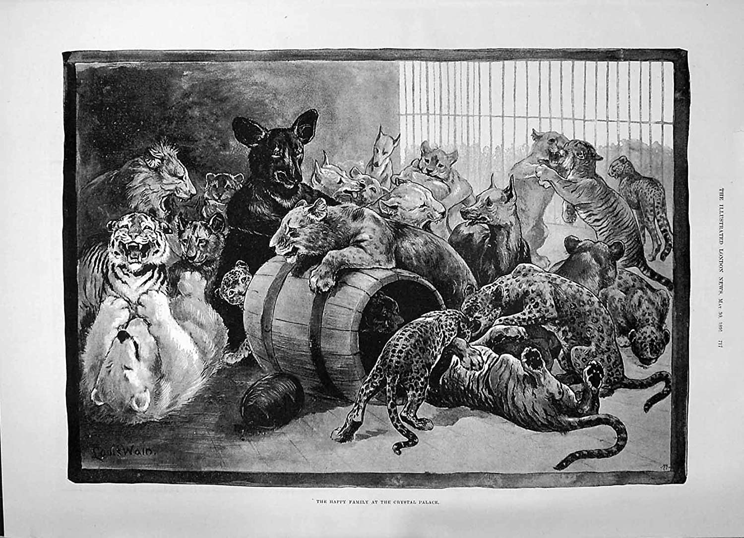1891 Happy Family Crystal Palace Zoo Animals Lions Tigers Leopards Louis Wain old-print P1980891717
