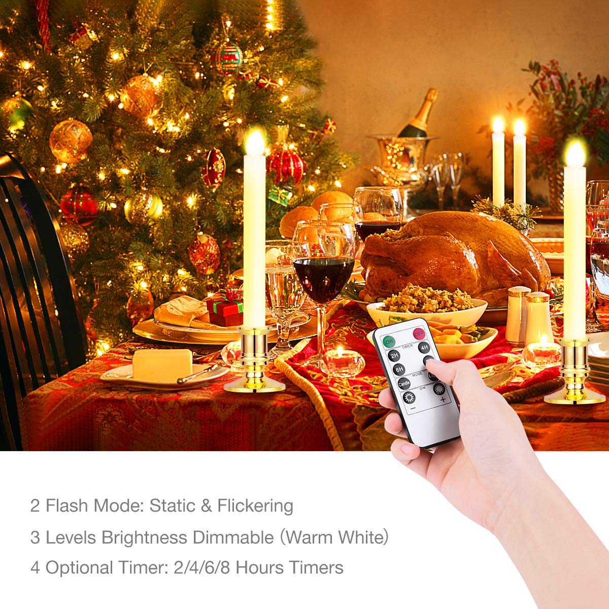Window Candles Lights, YUNLIGHTS 12 Pack Battery Powered Window Candles Flameless Taper Candles with Remote Control, Timer, Removable Gold Holders, Suction Cups, Warm White Hanukkah Candles by YUNLIGHTS (Image #2)