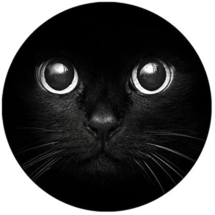 amazon com cute cat face black fashion design circular mousepad