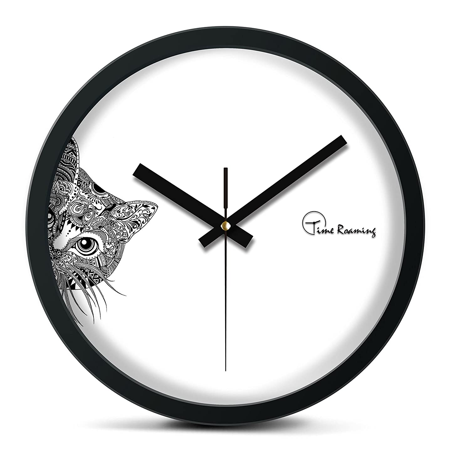 Amazon time roaming 10 modern decor silent metal wall clock amazon time roaming 10 modern decor silent metal wall clock peep cat home kitchen amipublicfo Image collections
